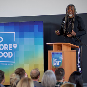 Jimmy Smith, the founder of Amusement Park Entertainment in Los Angeles, speaks at the Do More Good conference in Grand Rapids on Oct. 10